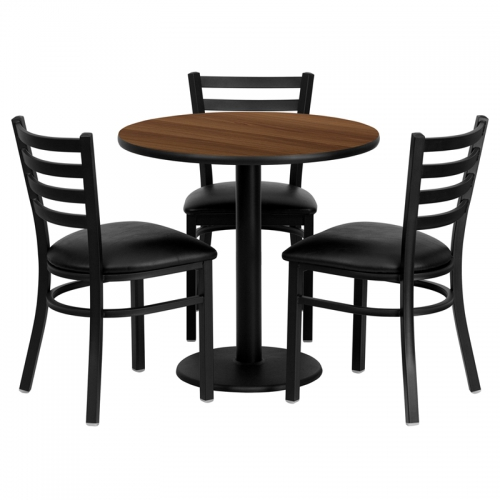 Flash Furniture 30'' Round Walnut Laminate Table Set with 3 Ladder Back Metal Chairs - Black Vinyl Seat [MD-0002-GG]
