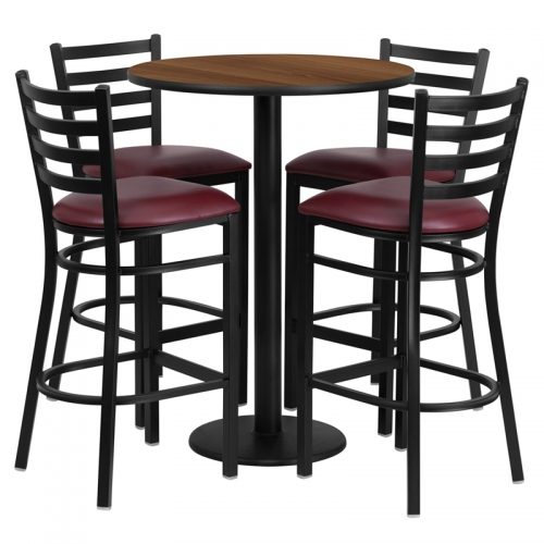 Flash Furniture 30'' Round Walnut Laminate Table Set with 4 Ladder Back Metal Bar Stools - Burgundy Vinyl Seat [RSRB1028-GG]