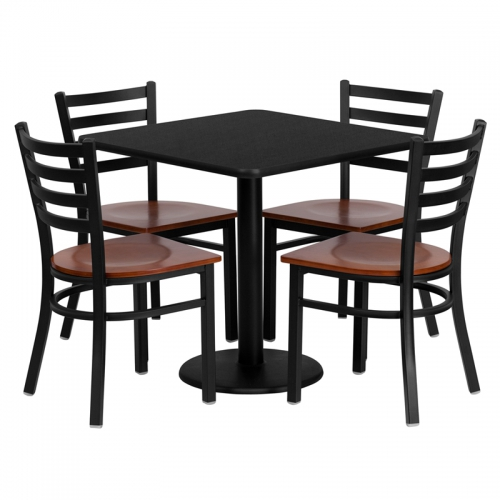 Flash Furniture 30'' Square Black Laminate Table Set with 4 Ladder Back Metal Chairs - Cherry Wood Seat [MD-0003-GG]