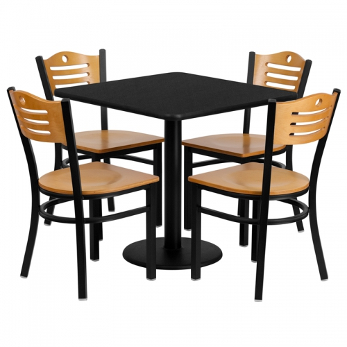 Flash Furniture 30'' Square Black Laminate Table Set with 4 Wood Slat Back Metal Chairs - Natural Wood Seat [MD-0010-GG]