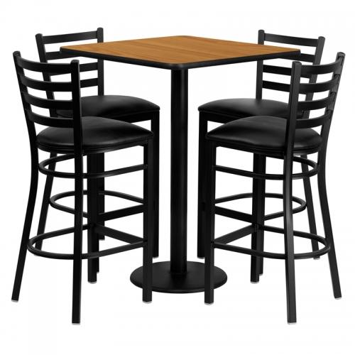 Flash Furniture 30'' Square Natural Laminate Table Set with 4 Ladder Back Metal Bar Stools - Black Vinyl Seat [MD-0012-GG]