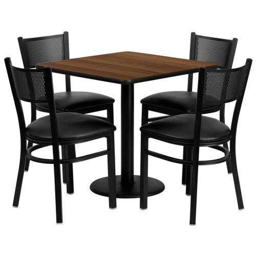 Flash Furniture 30'' Square Walnut Laminate Table Set with 4 Grid Back Metal Chairs - Black Vinyl Seat [MD-0005-GG]