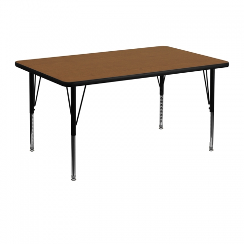 Flash Furniture 30''W x 48''L Rectangular Activity Table with 1.25'' Thick High Pressure Oak Laminate Top and Height Adjustable Pre-School Legs [XU-A3048-REC-OAK-H-P-GG]