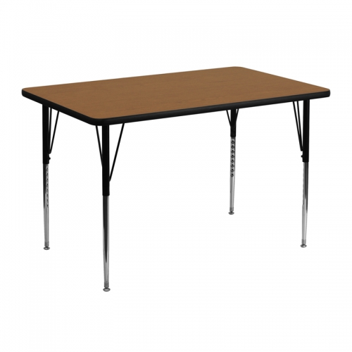 Flash Furniture 30''W x 48''L Rectangular Activity Table with Oak Thermal Fused Laminate Top and Standard Height Adjustable Legs [XU-A3048-REC-OAK-T-A-GG]