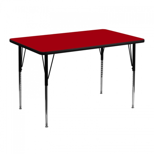 Flash Furniture 30''W x 48''L Rectangular Activity Table with Red Thermal Fused Laminate Top and Standard Height Adjustable Legs [XU-A3048-REC-RED-T-A-GG]