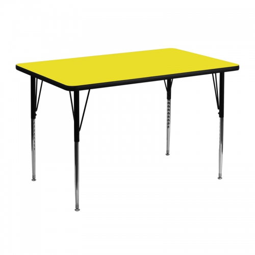 Flash Furniture 30''W x 48''L Rectangular Activity Table with 1.25'' Thick High Pressure Yellow Laminate Top and Standard Height Adjustable Legs [XU-A3048-REC-YEL-H-A-GG]