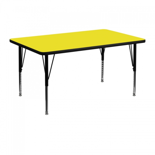 Flash Furniture 30''W x 48''L Rectangular Activity Table with 1.25'' Thick High Pressure Yellow Laminate Top and Height Adjustable Pre-School Legs [XU-A3048-REC-YEL-H-P-GG]
