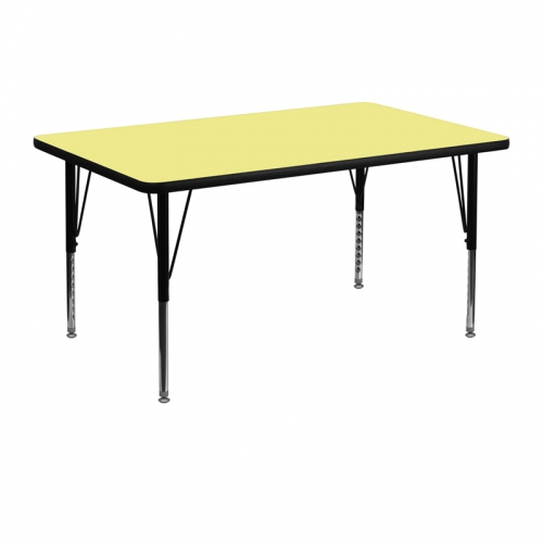 Flash Furniture 30''W x 48''L Rectangular Activity Table with Yellow Thermal Fused Laminate Top and Height Adjustable Pre-School Legs [XU-A3048-REC-YEL-T-P-GG]