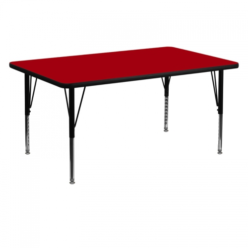 Flash Furniture 30''W x 60''L Rectangular Activity Table with Red Thermal Fused Laminate Top and Height Adjustable Pre-School Legs [XU-A3060-REC-RED-T-P-GG]