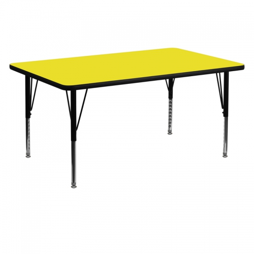 Flash Furniture 30''W x 60''L Rectangular Activity Table with 1.25'' Thick High Pressure Yellow Laminate Top and Height Adjustable Pre-School Legs [XU-A3060-REC-YEL-H-P-GG]