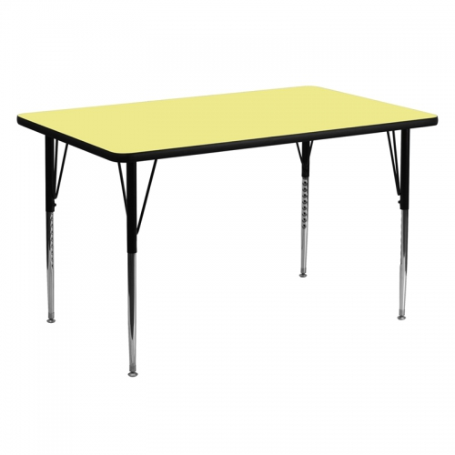 Flash Furniture 30''W x 60''L Rectangular Activity Table with Yellow Thermal Fused Laminate Top and Standard Height Adjustable Legs [XU-A3060-REC-YEL-T-A-GG]