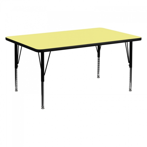 Flash Furniture 30''W x 60''L Rectangular Activity Table with Yellow Thermal Fused Laminate Top and Height Adjustable Pre-School Legs [XU-A3060-REC-YEL-T-P-GG]