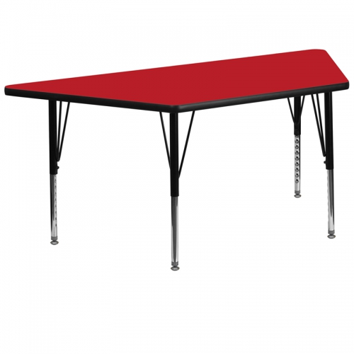 Flash Furniture 30''W x 60''L Trapezoid Activity Table with 1.25'' Thick High Pressure Red Laminate Top and Height Adjustable Pre-School Legs [XU-A3060-TRAP-RED-H-P-GG]