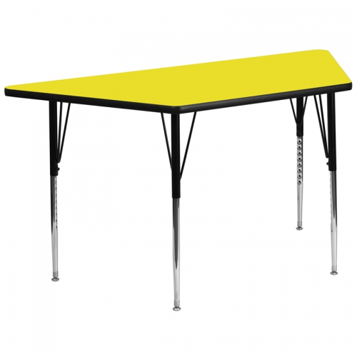 Flash Furniture 30''W x 60''L Trapezoid Activity Table with 1.25'' Thick High Pressure Yellow Laminate Top and Standard Height Adjustable Legs [XU-A3060-TRAP-YEL-H-A-GG]