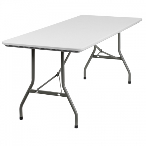 Flash Furniture  30''W x 72''L Granite White Plastic Folding Table [RB-3072-GG]