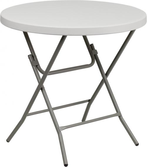 Flash Furniture  32'' Round Granite White Plastic Folding Table [RB-32R-GW-GG]