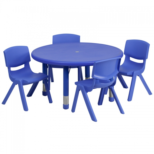 Flash Furniture 33'' Round Adjustable Blue Plastic Activity Table Set with 4 School Stack Chairs [YU-YCX-0073-2-ROUND-TBL-BLUE-E-GG]
