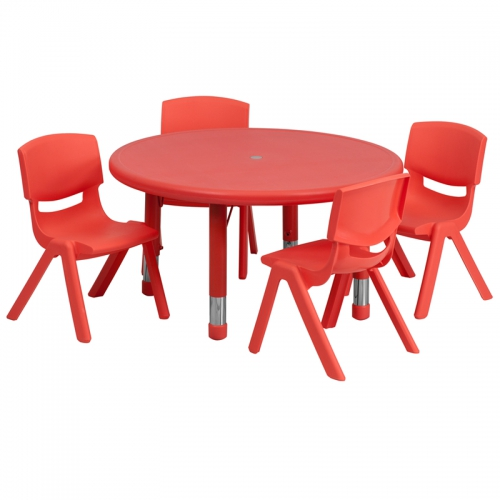 Flash Furniture 33'' Round Adjustable Red Plastic Activity Table Set with 4 School Stack Chairs [YU-YCX-0073-2-ROUND-TBL-RED-E-GG]