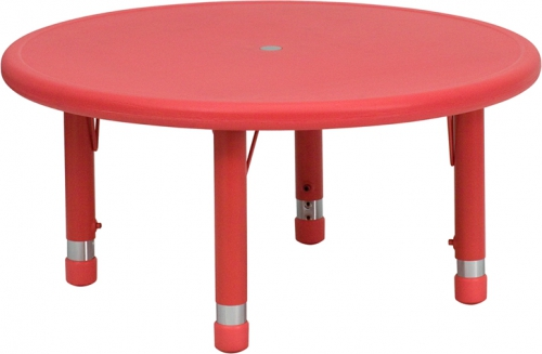 Flash Furniture 33'' Round Height Adjustable Red Plastic Activity Table [YU-YCX-007-2-ROUND-TBL-RED-GG]
