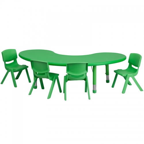 Flash Furniture 35''W x 65''L Adjustable Half-Moon Green Plastic Activity Table Set with 4 School Stack Chairs [YU-YCX-0043-2-MOON-TBL-GREEN-E-GG]