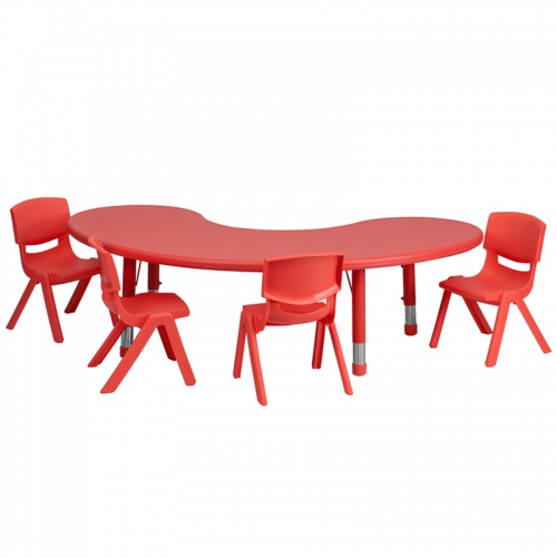 Flash Furniture 35''W x 65''L Adjustable Half-Moon Red Plastic Activity Table Set with 4 School Stack Chairs [YU-YCX-0043-2-MOON-TBL-RED-E-GG]