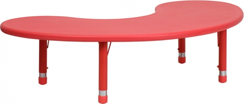 Flash Furniture 35''W x 65''L Height Adjustable Half-Moon Red Plastic Activity Table [YU-YCX-004-2-MOON-TBL-RED-GG]
