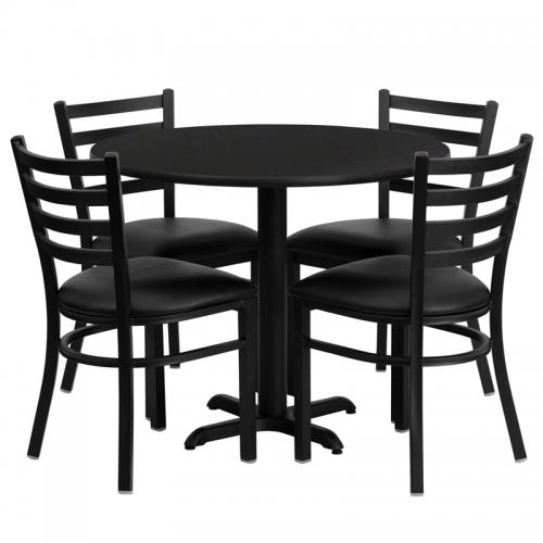 Flash Furniture 36'' Round Black Laminate Table Set with 4 Ladder Back Metal Chairs - Black Vinyl Seat [HDBF1029-GG]