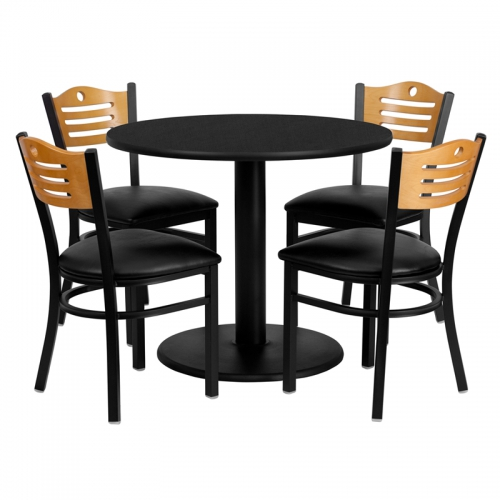 Flash Furniture 36'' Round Black Laminate Table Set with 4 Wood Slat Back Metal Chairs - Black Vinyl Seat [MD-0009-GG]