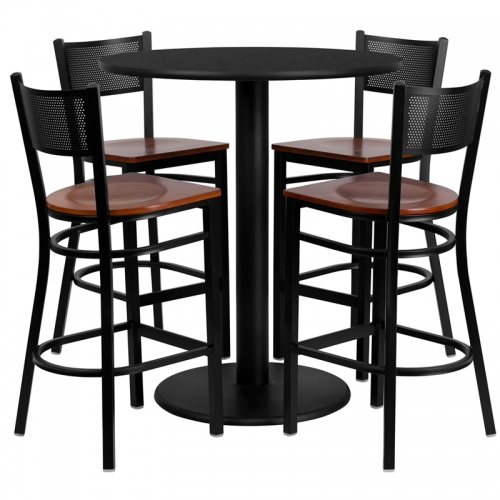 Flash Furniture 36'' Round Black Laminate Table Set with 4 Grid Back Metal Bar Stools - Cherry Wood Seat [MD-0018-GG]