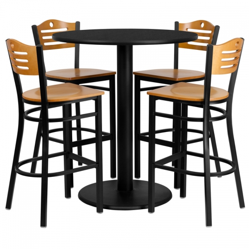 Flash Furniture 36'' Round Black Laminate Table Set with 4 Wood Slat Back Metal Bar Stools - Natural Wood Seat [MD-0020-GG]