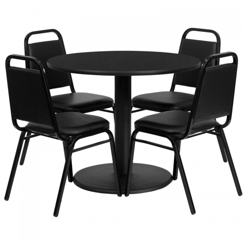 Flash Furniture 36'' Round Black Laminate Table Set with 4 Black Trapezoidal Back Banquet Chairs [RSRB1001-GG]