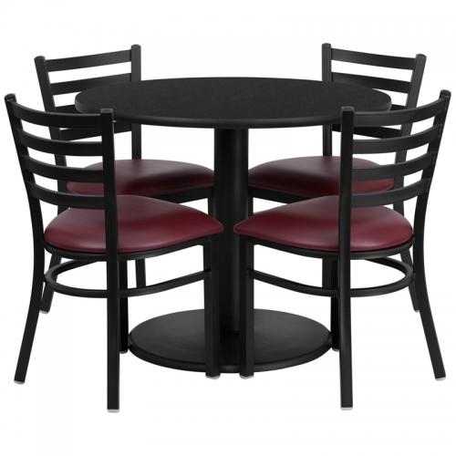 Flash Furniture 36'' Round Black Laminate Table Set with 4 Ladder Back Metal Chairs - Burgundy Vinyl Seat [RSRB1005-GG]