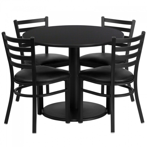 Flash Furniture 36'' Round Black Laminate Table Set with 4 Ladder Back Metal Chairs - Black Vinyl Seat [RSRB1029-GG]