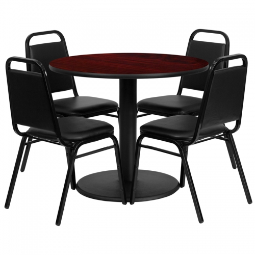 Flash Furniture 36'' Round Mahogany Laminate Table Set with 4 Black Trapezoidal Back Banquet Chairs [RSRB1002-GG]