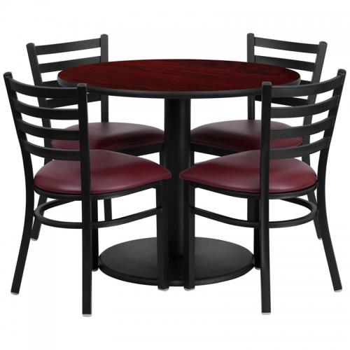 Flash Furniture 36'' Round Mahogany Laminate Table Set with 4 Ladder Back Metal Chairs - Burgundy Vinyl Seat [RSRB1006-GG]