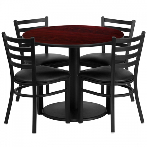 Flash Furniture 36'' Round Mahogany Laminate Table Set with 4 Ladder Back Metal Chairs - Black Vinyl Seat [RSRB1030-GG]