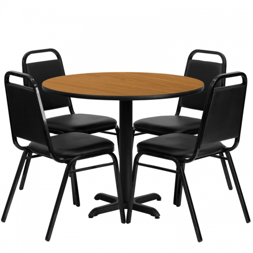 Flash Furniture 36'' Round Natural Laminate Table Set with 4 Black Trapezoidal Back Banquet Chairs [HDBF1003-GG]
