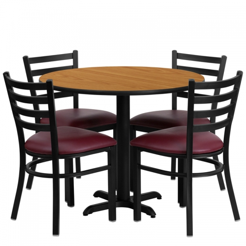 Flash Furniture 36'' Round Natural Laminate Table Set with 4 Ladder Back Metal Chairs - Burgundy Vinyl Seat [HDBF1007-GG]