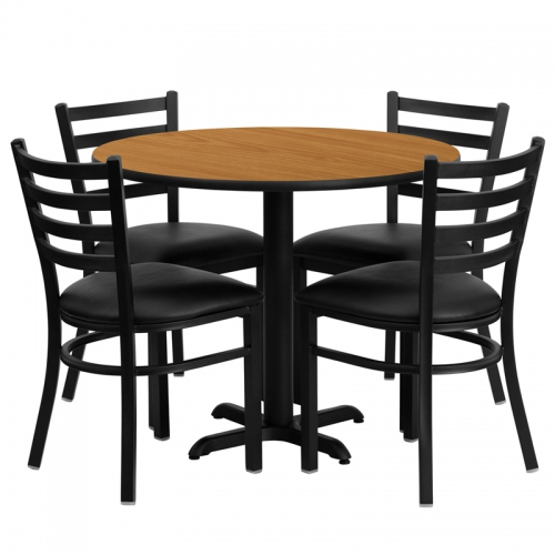 Flash Furniture 36'' Round Natural Laminate Table Set with 4 Ladder Back Metal Chairs - Black Vinyl Seat [HDBF1031-GG]
