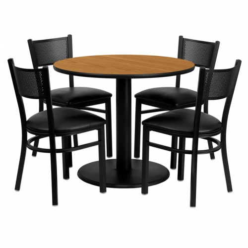 Flash Furniture 36'' Round Natural Laminate Table Set with 4 Grid Back Metal Chairs - Black Vinyl Seat [MD-0006-GG]