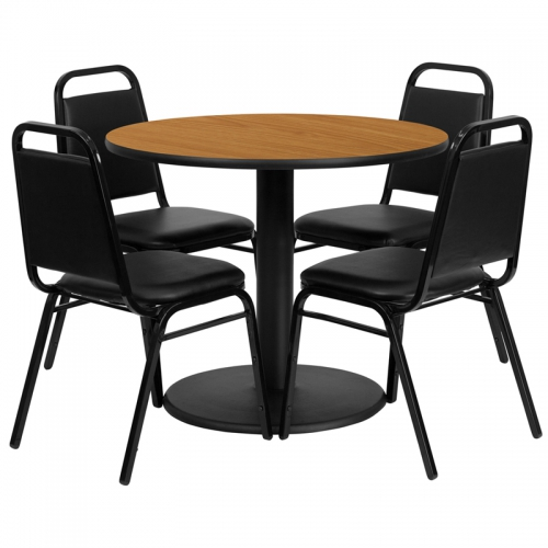 Flash Furniture 36'' Round Natural Laminate Table Set with 4 Black Trapezoidal Back Banquet Chairs [RSRB1003-GG]