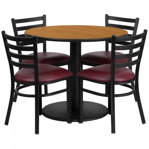 Flash Furniture 36'' Round Natural Laminate Table Set with 4 Ladder Back Metal Chairs - Burgundy Vinyl Seat [RSRB1007-GG]