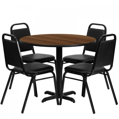 Flash Furniture 36'' Round Walnut Laminate Table Set with 4 Black Trapezoidal Back Banquet Chairs [HDBF1004-GG]