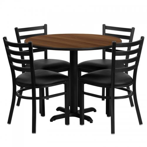 Flash Furniture 36'' Round Walnut Laminate Table Set with 4 Ladder Back Metal Chairs - Black Vinyl Seat [HDBF1032-GG]