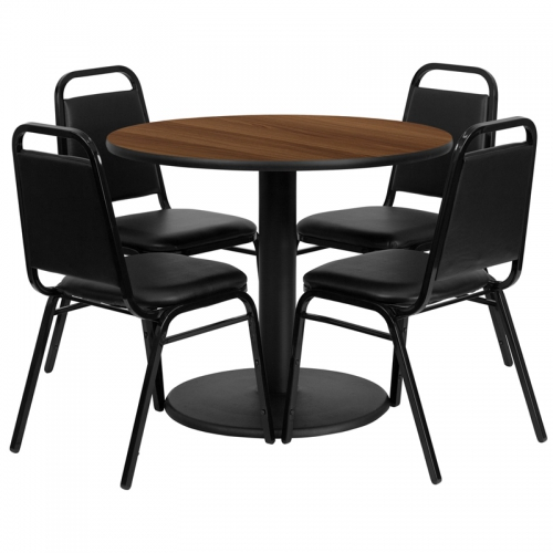 Flash Furniture 36'' Round Walnut Laminate Table Set with 4 Black Trapezoidal Back Banquet Chairs [RSRB1004-GG]