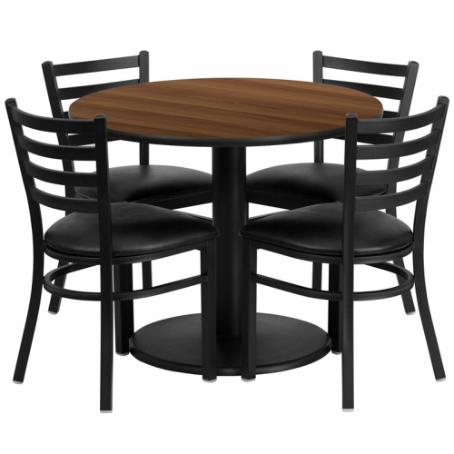 Flash Furniture 36'' Round Walnut Laminate Table Set with 4 Ladder Back Metal Chairs - Black Vinyl Seat [RSRB1032-GG]