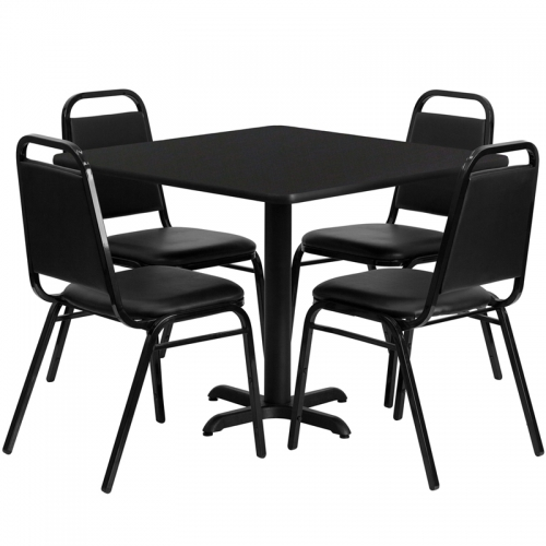 Flash Furniture 36'' Square Black Laminate Table Set with 4 Black Trapezoidal Back Banquet Chairs [HDBF1009-GG]
