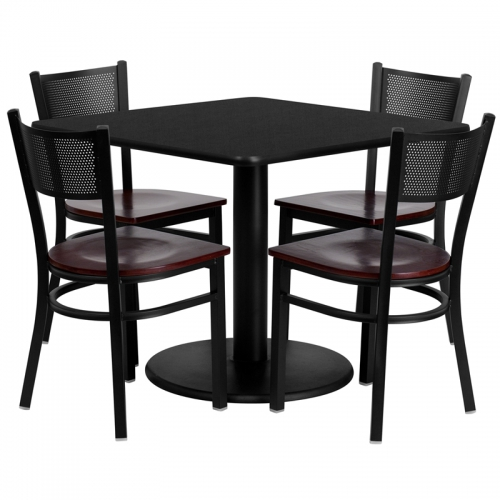 Flash Furniture 36'' Square Black Laminate Table Set with 4 Grid Back Metal Chairs - Mahogany Wood Seat [MD-0008-GG]