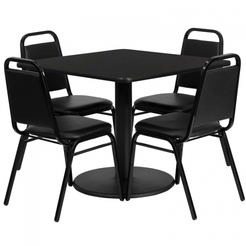 Flash Furniture 36'' Square Black Laminate Table Set with 4 Black Trapezoidal Back Banquet Chairs [RSRB1009-GG]