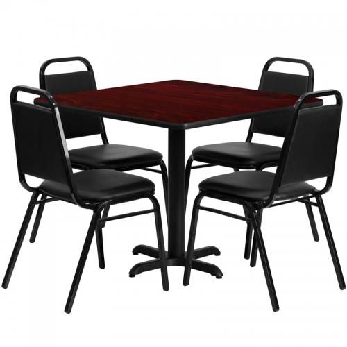 Flash Furniture 36'' Square Mahogany Laminate Table Set with 4 Black Trapezoidal Back Banquet Chairs [HDBF1010-GG]
